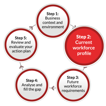 A continuous flow diagram containing five labelled circles linked by arrows pointing in a clockwise direction. The circles are labelled as follows: Step 1: Business context and environment. Step 2: Current workforce profile Step 3: Future workforce requirements Step 4: Analyse and fill the gap Step 5: Review and evaluate your action plan. The second circle containing Step 2 is highlighted.