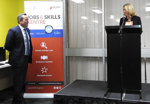 Premier Mark McGowan and South Metropolitan TAFE Managing Director Terry Durant at the Rockingham Jobs and Skills Centre launch.
