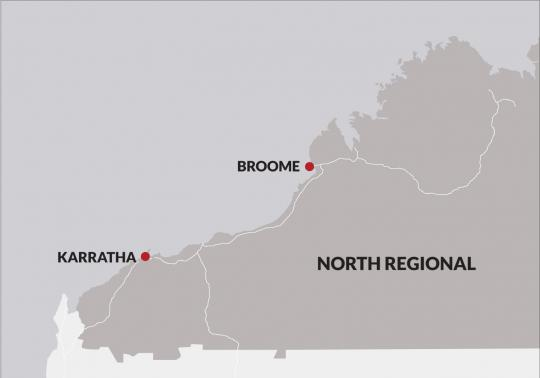 A map of the North regional area of WA, showing the Broome and Karratha JSCs