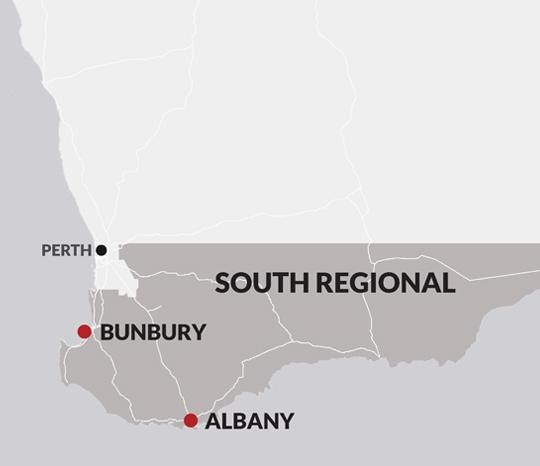 An illustrated map of the South regional area, showing Albany and Bunbury JSCs