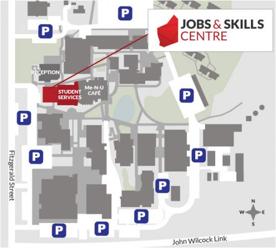 A map of the Geraldton TAFE campus, showing the location of the JSC.