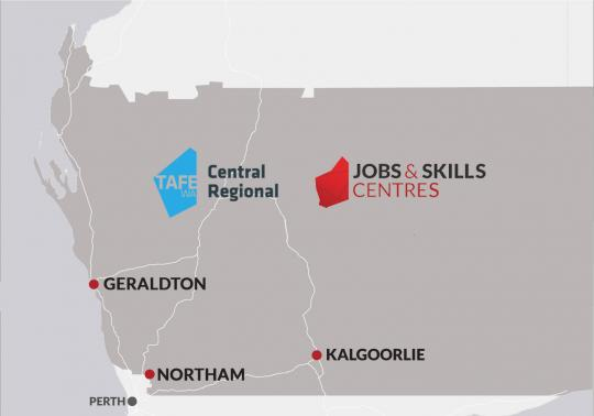 An illustrated map of the central regional area of WA.