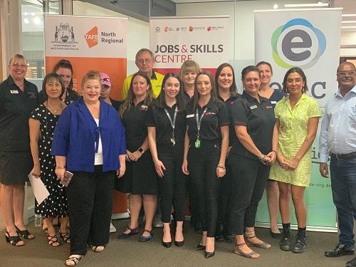 Karratha Jobs and Skills Centre team with Minister Ellery