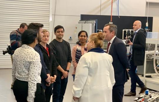 Premier Mark McGowan and Minister Sue Ellery chatting to students