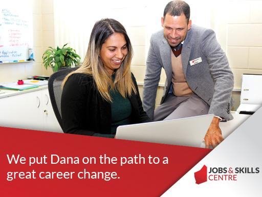 Brenton sat with Dana at Jobs and Skills Centre