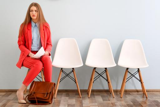 A woman waiting for her job interview