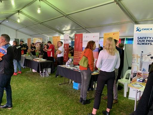 Inside Deadly Jobs Expo tent 2019