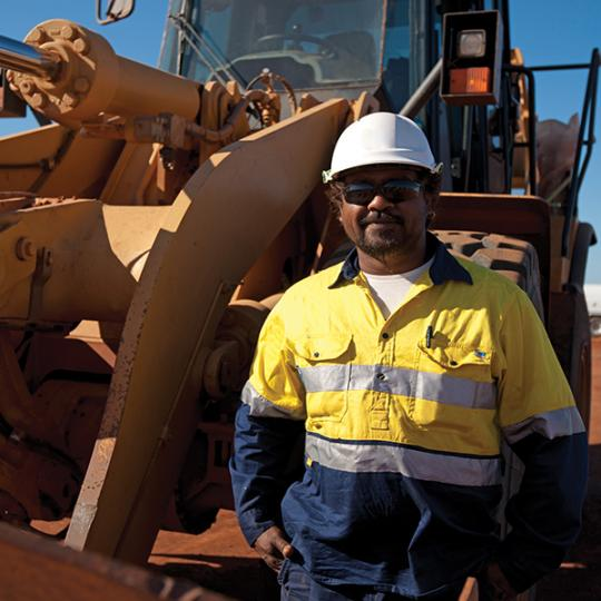 Aboriginal construction worker on site