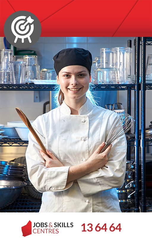 A skills ready person working in a commercial kitchen.