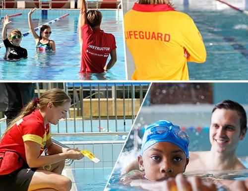 Lifeguards and children swimming in a pool